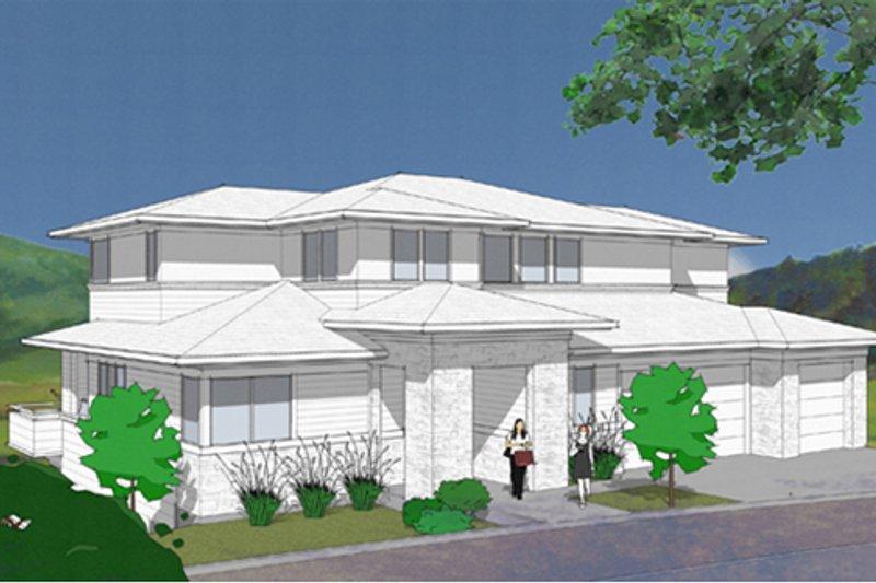 Architectural House Design - Prairie Exterior - Front Elevation Plan #48-464