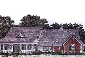Country Exterior - Front Elevation Plan #310-796