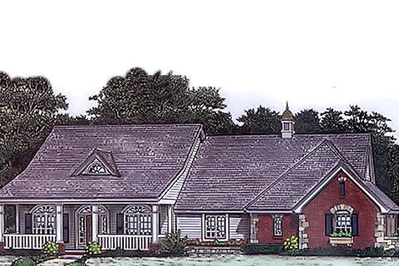 Country Style House Plan - 3 Beds 2.5 Baths 2006 Sq/Ft Plan #310-796 Exterior - Front Elevation