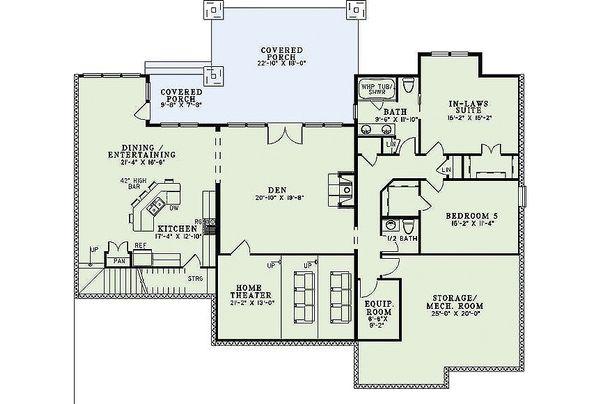 Craftsman Floor Plan - Lower Floor Plan Plan #17-2375
