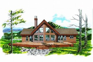 Cabin Exterior - Front Elevation Plan #47-437