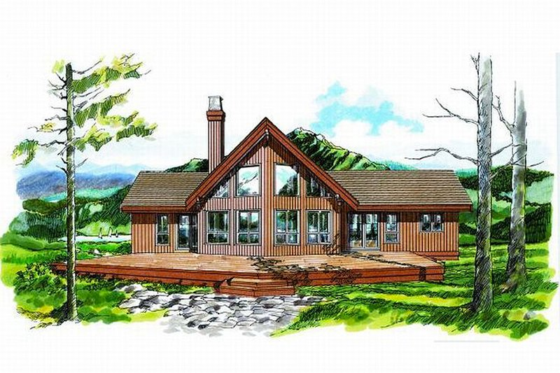 Cabin Style House Plan - 3 Beds 2 Baths 1659 Sq/Ft Plan #47-437 Exterior - Front Elevation