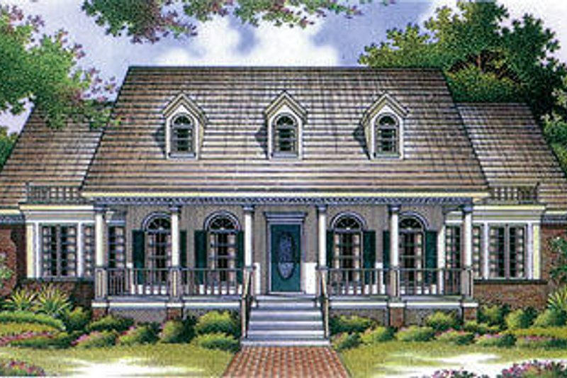 Southern Style House Plan - 4 Beds 3.5 Baths 3035 Sq/Ft Plan #45-281 Exterior - Front Elevation