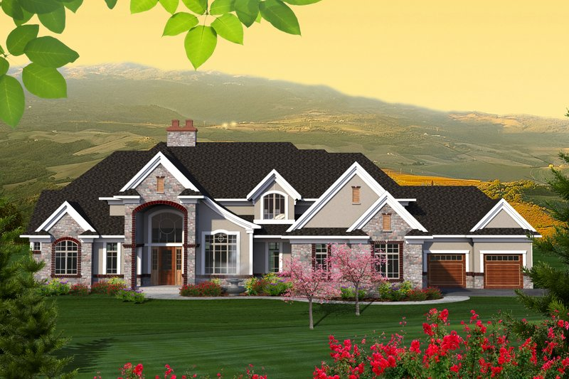 Architectural House Design - Traditional Exterior - Front Elevation Plan #70-1206