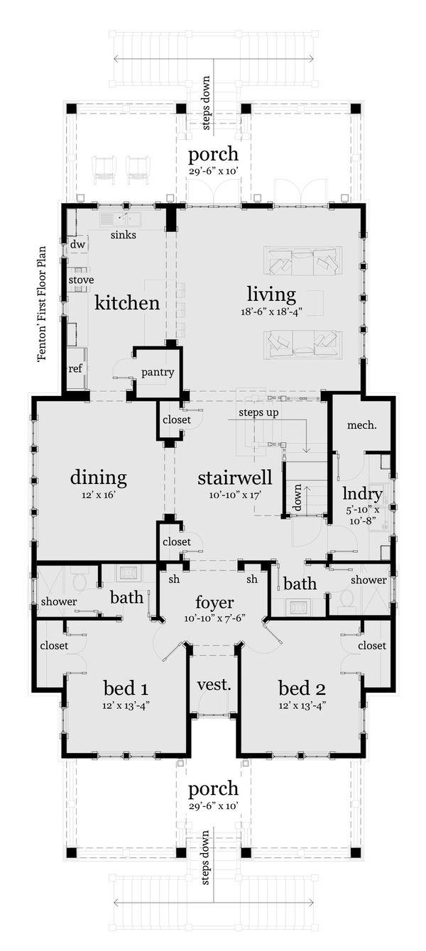 Beach Floor Plan - Main Floor Plan Plan #64-251