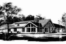 House Blueprint - Modern Exterior - Rear Elevation Plan #72-306