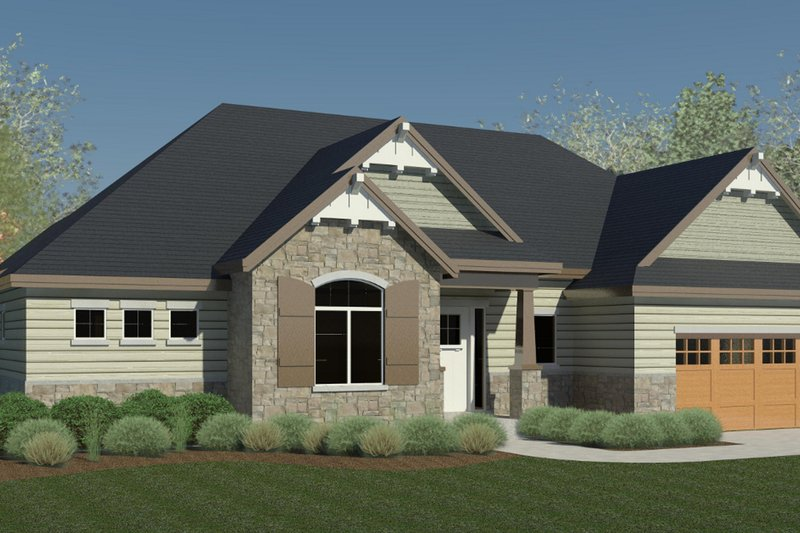 Craftsman Style House Plan - 2 Beds 2 Baths 1777 Sq/Ft Plan #920-108 Exterior - Front Elevation
