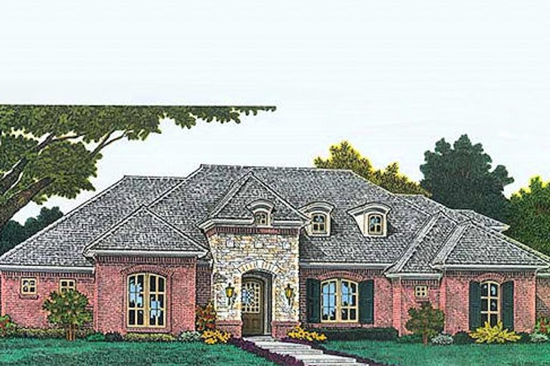 European Style House Plan - 4 Beds 3 Baths 2116 Sq/Ft Plan #310-965 Exterior - Front Elevation