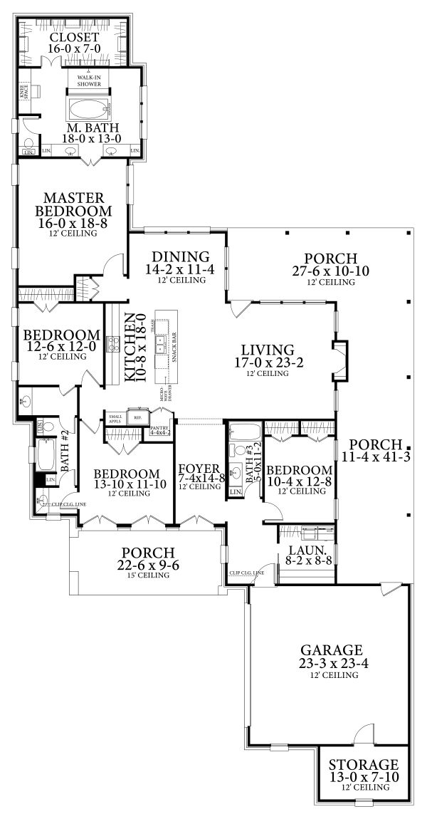 Cottage Floor Plan - Main Floor Plan Plan #406-9663