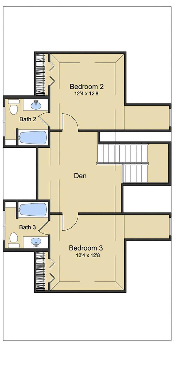 Beach Floor Plan - Upper Floor Plan Plan #430-124