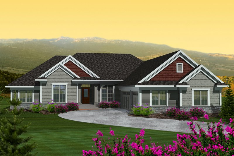 Ranch Exterior - Front Elevation Plan #70-1123