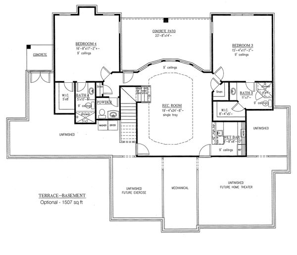 European Floor Plan - Lower Floor Plan Plan #437-62