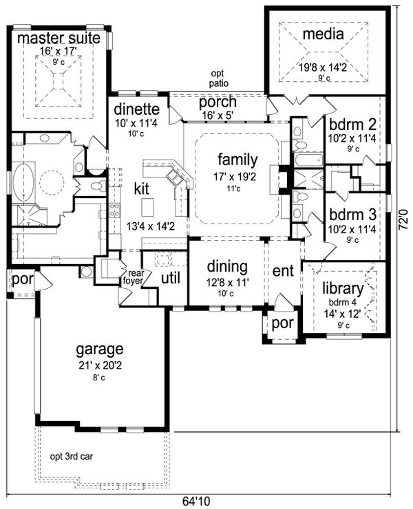 European Floor Plan - Main Floor Plan Plan #84-593