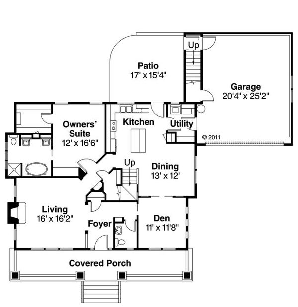 Bungalow Floor Plan - Main Floor Plan Plan #124-485