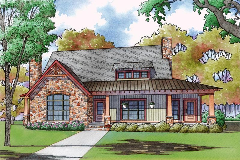 Cottage Style House Plan - 3 Beds 2.5 Baths 2637 Sq/Ft Plan #923-68 Exterior - Front Elevation