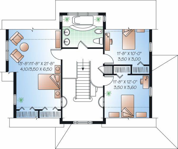 European Floor Plan - Upper Floor Plan Plan #23-819