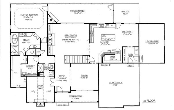 Craftsman Floor Plan - Main Floor Plan Plan #437-64