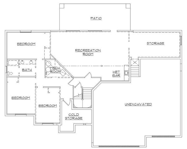 European Floor Plan - Lower Floor Plan Plan #5-388