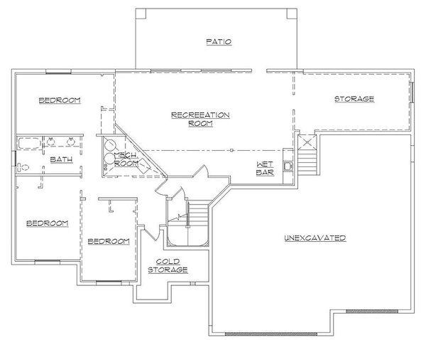 European Floor Plan - Lower Floor Plan Plan #5-388