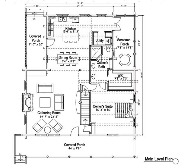 Log Floor Plan - Main Floor Plan Plan #451-5