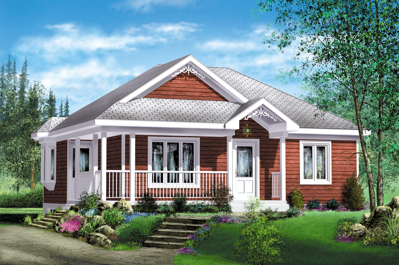 Cottage Style House Plan - 2 Beds 1 Baths 894 Sq/Ft Plan #25-4126 Exterior - Front Elevation