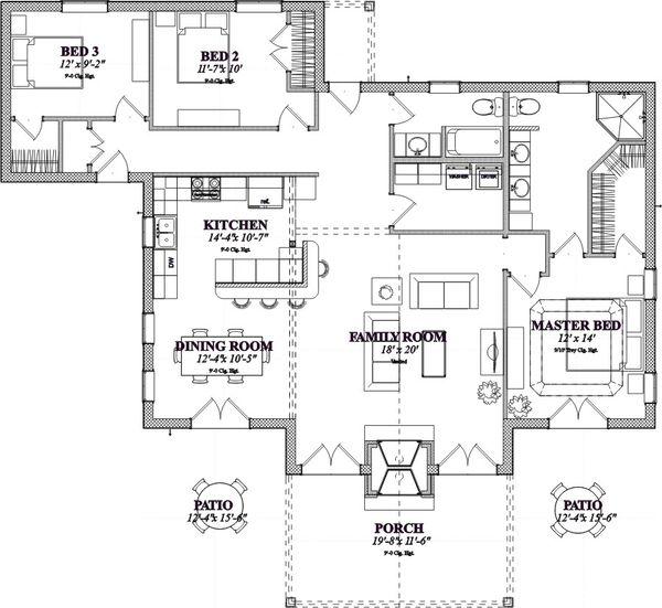 Craftsman Floor Plan - Main Floor Plan Plan #63-359