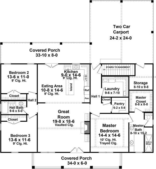 Country Floor Plan - Main Floor Plan Plan #21-456