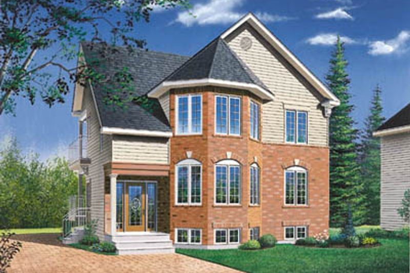 European Style House Plan - 2 Beds 1 Baths 2000 Sq/Ft Plan #23-2154 Exterior - Front Elevation