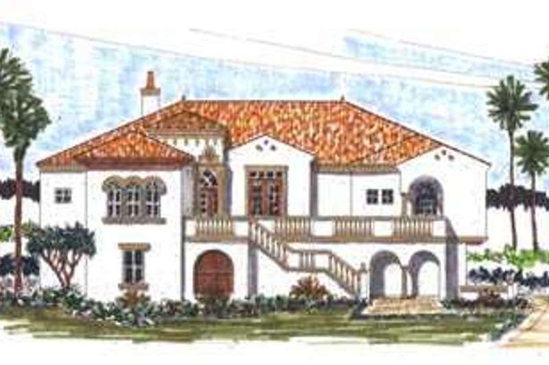 Mediterranean Style House Plan - 3 Beds 5 Baths 2846 Sq/Ft Plan #76-101 Exterior - Front Elevation
