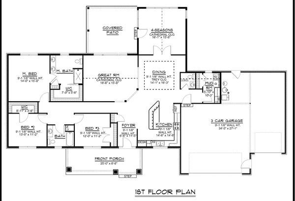Craftsman Floor Plan - Main Floor Plan #1064-131