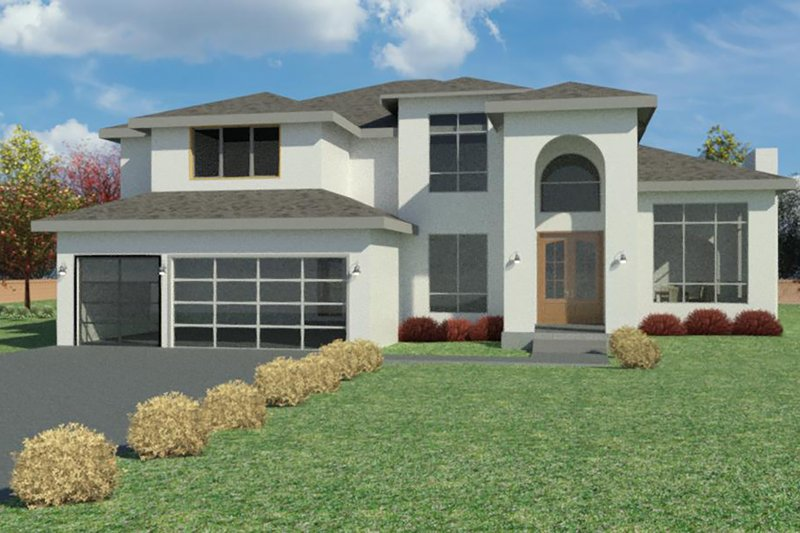 Mediterranean Style House Plan - 5 Beds 4.5 Baths 5145 Sq/Ft Plan #1066-108 Exterior - Front Elevation