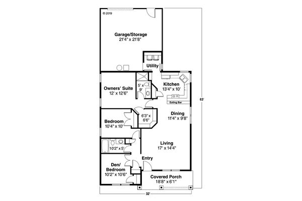 Cottage Floor Plan - Main Floor Plan Plan #124-309