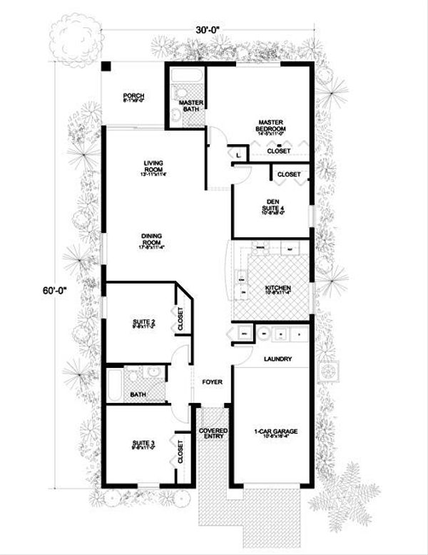 Modern Style House Plan - 4 Beds 2 Baths 1407 Sq/Ft Plan #420-202 Floor Plan - Main Floor Plan