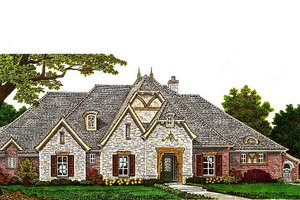 European Exterior - Front Elevation Plan #310-983