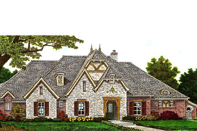 European Exterior - Front Elevation Plan #310-983 - Houseplans.com