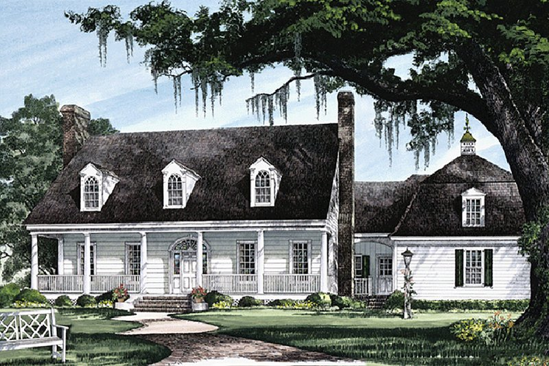 Southern Exterior - Front Elevation Plan #137-224 - Houseplans.com