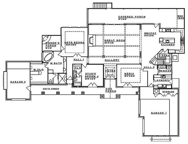 Mediterranean Floor Plan - Main Floor Plan Plan #935-4