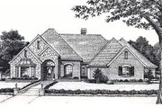 European Style House Plan - 4 Beds 3.5 Baths 2578 Sq/Ft Plan #310-839 Exterior - Front Elevation
