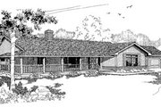 Ranch Style House Plan - 3 Beds 2.5 Baths 1998 Sq/Ft Plan #60-143 Exterior - Front Elevation