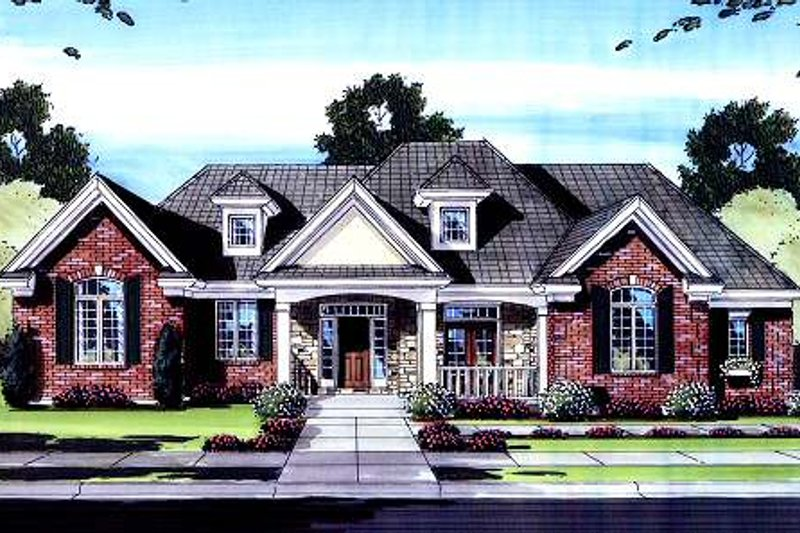 Dream House Plan - Traditional Exterior - Front Elevation Plan #46-421