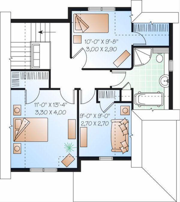 Traditional Floor Plan - Upper Floor Plan Plan #23-821