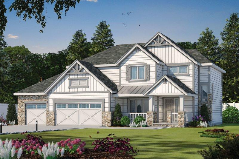 Craftsman Style House Plan - 4 Beds 3.5 Baths 2452 Sq/Ft Plan #20-2127