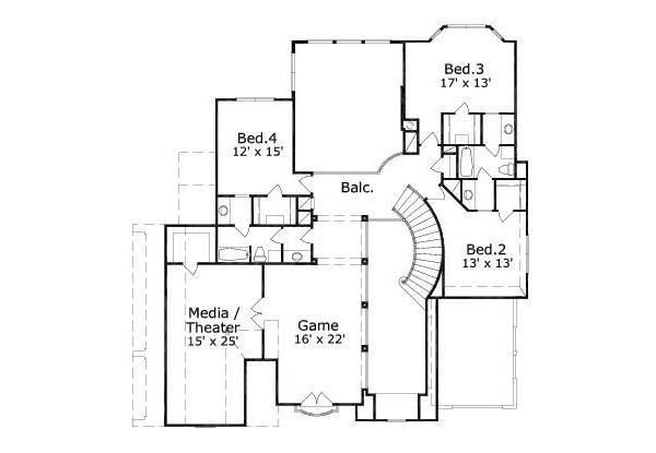 European Floor Plan - Upper Floor Plan Plan #411-364