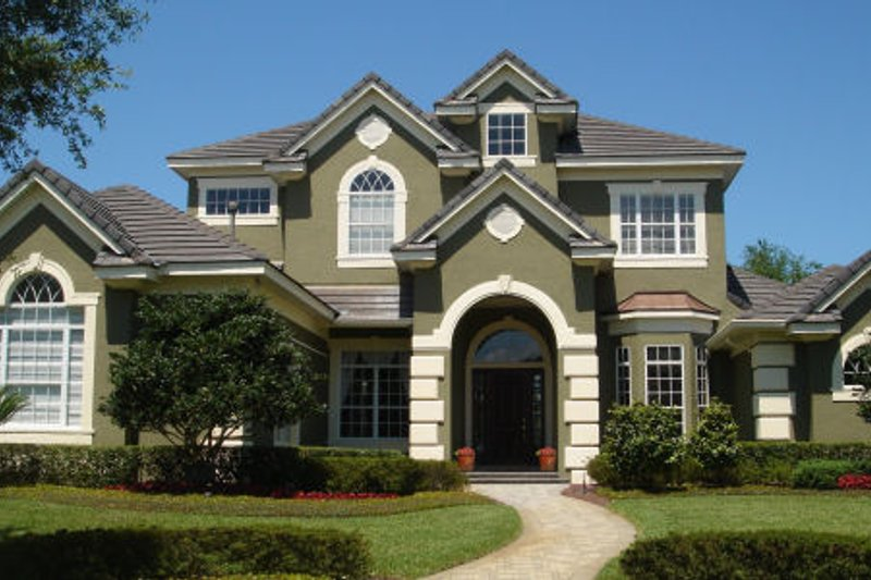 European Style House Plan - 4 Beds 4.5 Baths 5219 Sq/Ft Plan #135-194 Exterior - Front Elevation