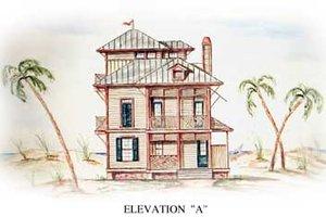 House Blueprint - Beach Exterior - Front Elevation Plan #54-115