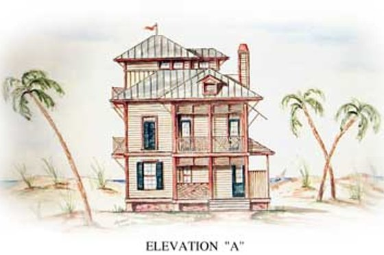 Beach Exterior - Front Elevation Plan #54-115