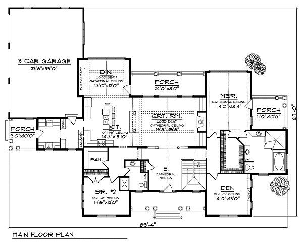 Traditional Floor Plan - Main Floor Plan Plan #70-854