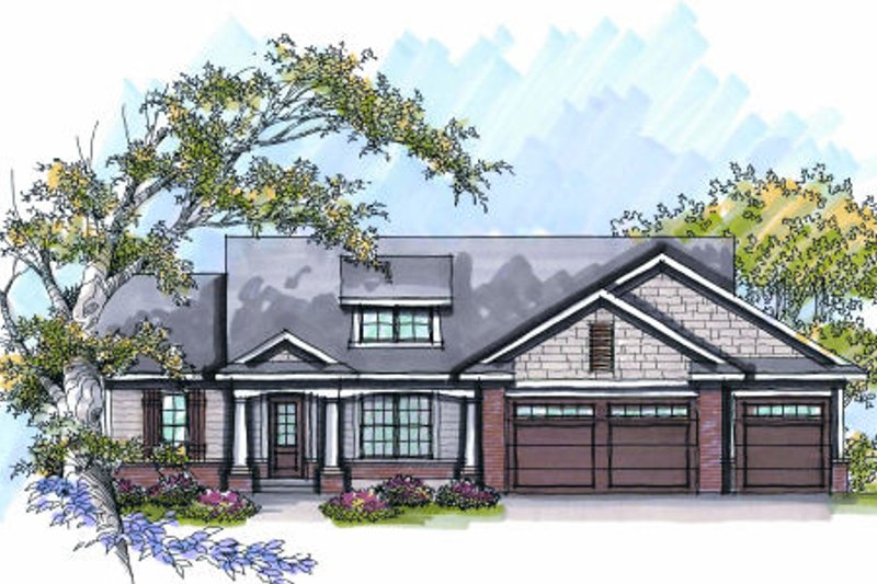 Craftsman Exterior - Front Elevation Plan #70-1012
