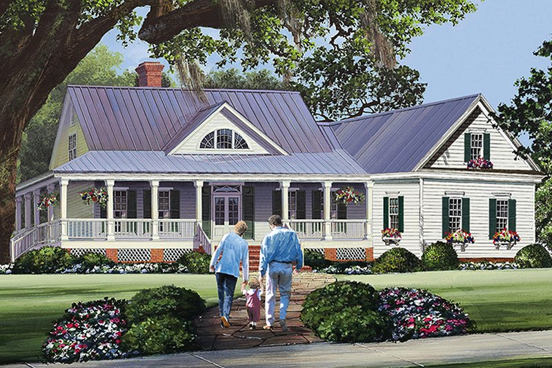Country Style House Plan - 3 Beds 2.5 Baths 2010 Sq/Ft Plan #137-371 Exterior - Front Elevation