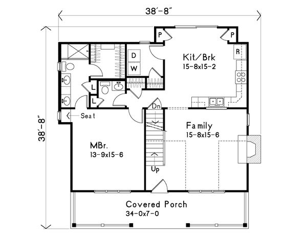 Country Floor Plan - Main Floor Plan Plan #22-582